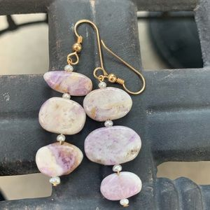 Earrings FLOWER SUGILITE & freshwater pearl 14KTGF
